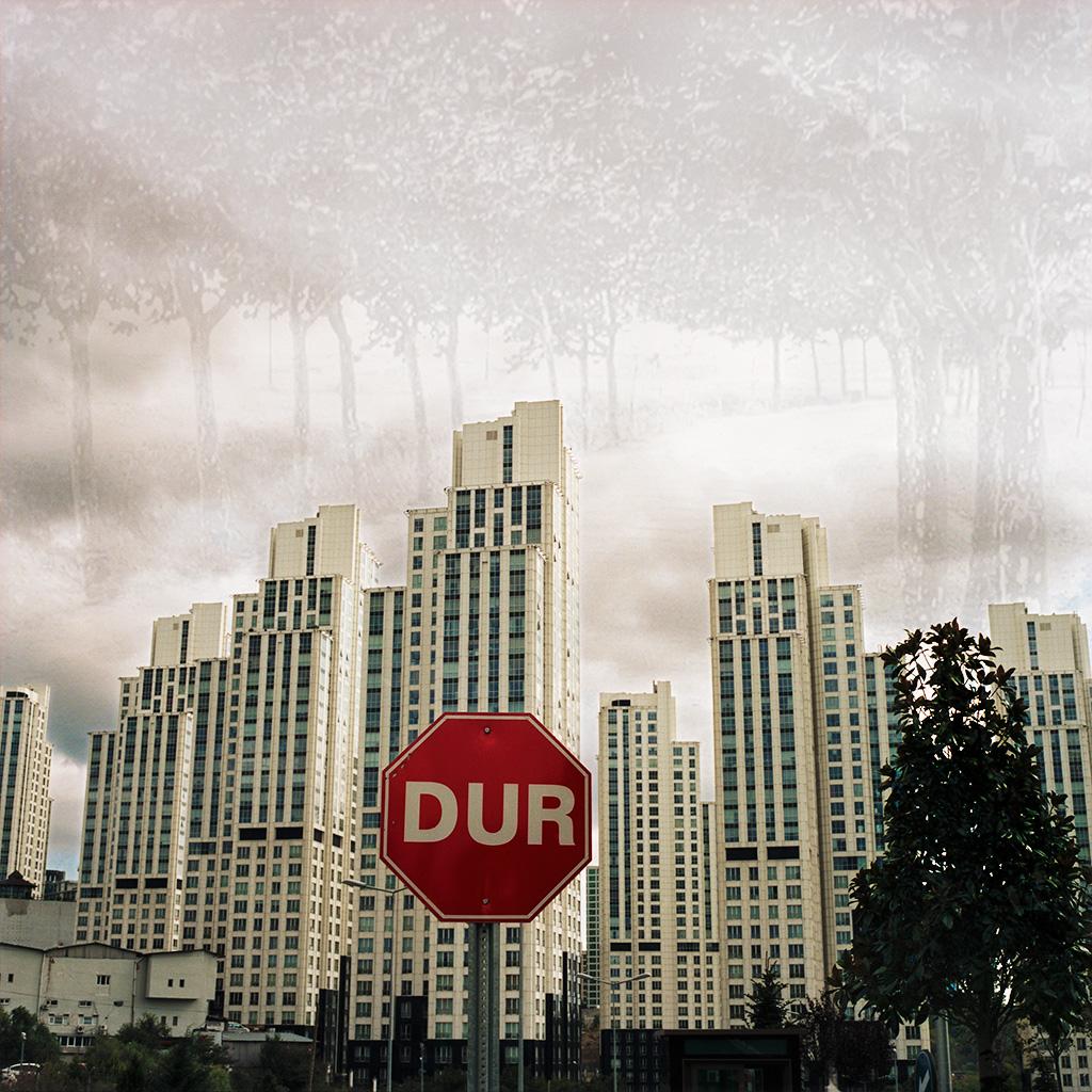 Maslak (Istanbul), Turquie. Palimpseste façonné à partir de mon image de l'ensemble immobilier 'Mashattan' (contraction de 'Maslak' et 'Manhattan') (2014) et d'une photo N&B des années 1960 d'une route bordée d'arbres à Maslak, à cette époque encore entourée de campagne (archives personnelles de Monsieur Irfan Dagdelen). Très peu densifiée jusque dans les années 1990 - c'est-à-dire, hier - Maslak est de plus en plus couverte de tours modernes combinant bureaux connectés et appartements haut de gamme. Eloignée du cœur bruyant, congestionné et pollué d'Istanbul, Maslak attire individus et familles au fort pouvoir d'achat. La ville veut se doter d'un visage en adéquation avec son ambition de devenir le pôle financier et d'affaires de la rive européenne d'Istanbul.