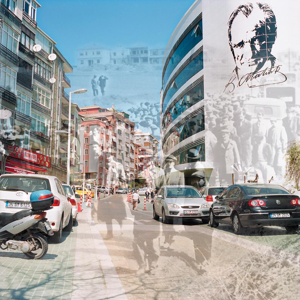 Kartal (Istanbul), Turquie. Palimpseste façonné à partir de mon image (2014) de la nouvelle annexe de la Mairie de Kartal et son environnement dans le quartier où se situait autrefois Cumhuriyet Meydani (Place de la République). L'image N&B montre une procession dans ce même quartier dans les années 1960 (archives de la Mairie de Kartal). A l'époque, l'endroit est vide de voitures et de constructions, sauf les maisons à un étage qui commencent à émerger sur le haut de la colline. Le quartier, aujourd'hui encombré d'immeubles et de voitures, illustre l'un des indices d'une ville qui se modernise : l'hégémonie de la voiture dans l'espace public. .................................. Kartal (Istanbul), Turkey. Palimpsest fashioned from my image of the new City Hall annex and its neighborhood (2014). The older B&W picture from the 1960s (courtesy the Kartal Mayor's Office) shows a funeral procession through this same neighborhood. This area is at that time undeveloped, but a few one-story homes are beginning to appear at the top of the hill. The neighborhood, now congested with buildings and cars, illustrates one sign of a modernizing city: automobiles exercise hegemony over pedestrians.